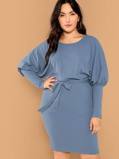 Plus Size Dress With Gigot Sleeve Pencil Silhouette XL-3XL bfde85537206