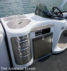 Admiral refreshment center with electric wine rack for pontoon boats. Pontoon Boat Party, Pontoon Boats, Pontoon Boat Accessories, Camping Accessories, Party Barge, John Boats, Lobster Boat, Boat Interior, Interior Ideas