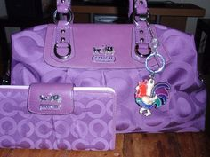 Purple Coach Purse with Wallet. loveeeeeeeeee the wallet - That colorful rooster adds just the right splash to break up all that purple. : Made me think of my nana purple & with the little rooster Burberry Handbags, Coach Handbags, Purses And Handbags, Burberry Bags, Replica Handbags, Discount Coach Bags, Coach Bags Outlet, Cheap Coach Bags, Purple Love