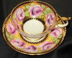AYNSLEY-MAUVE-PINK-ROSES-ATHENS-COBALT-BLUE-GOLD-TEA-CUP-AND-SAUCER