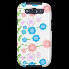 flowers  ,  flower  ,  blue  ,  pink  ,  flora  ,  drawing  ,  illustration  ,  artistic  ,  cool  ,  special  ,  best  ,  zazzle  ,  green  ,  leaves  ,  pretty  ,  subtle  ,  delicate  ,  unique  ,  customize  , Galaxy SIII Cases