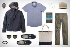 Garb: To The Coast by TIMBERLAND + Timberland Earthkeepers 2 Eye Boat Shoe ($99). Timberland Waterproof Wharf Bomber Jacket ($138). Timberland Earthkeepers Lakeville Tote Bag ($75). Saturdays Esquina Oxford Shirt ($98). H&M Twill Pants ($30). Ray-Ban Clubmaster Classic Sunglasses ($150). Miansia Beacon Rope Bracelet ($95). 1952 Paperback The Old Man and the Sea ($15). Ebbets Ballcap ($40). Nivada Grenchen Chronograph Watch ($1,650). AIAIAI Pipe Headphones ($40).