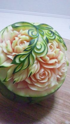 フルーツカービングfood garnish#fruit carving work# watermelon                                                                                                                                                     More