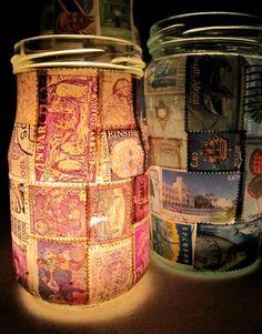 Postzegels op een glazen pot
