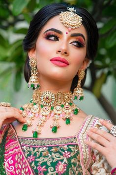 """""""To nail that wedding look, every bride-to-be remains on a constant lookout for that perfect Indian bridal makeup look. Every day social media is flooded with various makeup trends, and you need to be careful before with your bridal look. From traditional bridal look to minimal makeup, check out Our Favorite 51 Indian Bridal Makeup Looks before selecting yours. """" Indian Bridal Makeup, Wedding Makeup Looks, Wedding Looks, Bridal Looks, Womens Clothing Stores, Clothes For Women, Middle Eastern Makeup, Girls Designer Dresses, Indian Bridal Photos"""