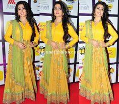 Charmi in yellow anarkali at the Radio Mirchi Music Awards 2015