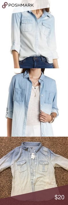 Ombré Chambray Button Up Top Med Wash Denim NWT. Very comfortable material - 100% cotton Charlotte Russe Tops Button Down Shirts