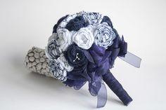 Ramo de Novia tejido en Ganchillo Azul