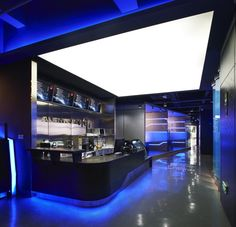 Alienware Internet Cafe - The Alienware Internet Cafe in Ningbo, China is a brand new gaming headquarters where PC gaming fanatics can compete comfortably on professional-le. Pub Design, Retail Design, Store Design, Showroom Design, Cafe Interior Design, Gaming Lounge, Gaming Center, Game Cafe, Video Game Rooms