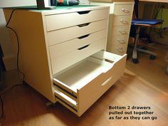 IKEA HACK for hiding printer inside Alex drawers. Sew, incidentally: Sewing Spaces Drawers for - IKEA Sewing Room Storage, Sewing Room Organization, Craft Room Storage, Craft Rooms, Sewing Spaces, Sewing Rooms, Alex Drawer Organization, Office Organization, Ikea Alex Drawers