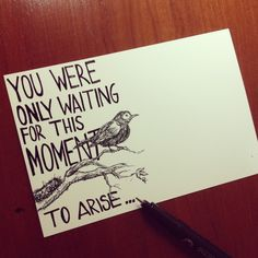 Made a print of my old drawing and added the beatles' blackbird lyric..