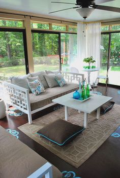 Sunroom (photo 2 of 2). She painted the concrete floors the colour of chocolate. :D