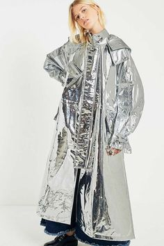 Slide View: 1: Angel Chen Long Metallic Silver Windbreaker