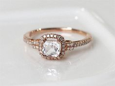 Cushion Cut 0.56ctw Pink Morganite Ring Solid 14K Rose Gold Diamond Ring/ Wedding Ring/ Engagement Ring/ Anniversary Ring/ Gemstone Jewelry