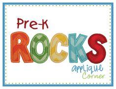 Pre-K Rocks Applique Design