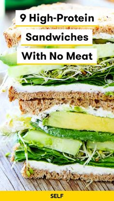 Vegetarian or not, you'll want to try these delicious high-protein sandwich reci. - Vegetarian or not, you'll want to try these delicious high-protein sandwich recipes for lunch. Vegetarian Recipes Videos, High Protein Vegetarian Recipes, Veggie Recipes, Healthy Recipes, Protein For Vegetarians, Vegetarian Lunch Ideas For Work, Veggie Lunch Ideas, High Protein Lunch Ideas, Vegan Lentil Recipes