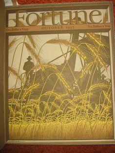 FORTUNE MAGAZINE  October 1935 MINT Cover Only wheat farmer farm grain combine