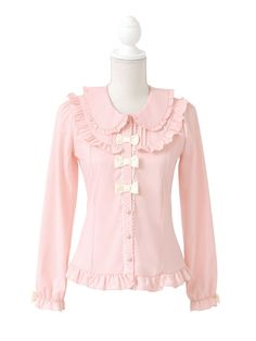 dreamv | Rakuten Global Market: Large chocolate color scheme 3 Ribbon round collar ruffled long sleeve blouse long sleeve blouse ruffles round collar Ribbon size collared sweet Lolita clothing Lady retro cute fashion of Baju pink Brown ladies long sleeve blouse shirt dream vision