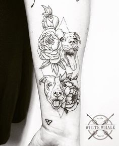 We thought you might need some puppies and flowers today. Tattoo by @jgracetattoo (triangle done elsewhere). #linework #lineworktattoo #blackwork #blackworkers #darkartists #darkart #dogtattoo #dogs #puppies #puppytattoo #flower #flowersfloral #floraltattoo #flowertattoo #geometry #geometrictattoo #dotwork #pointillism