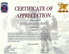 Military Certificate Of Appreciation Template Certificate Of Appreciation 03  Bell  Pinterest  Certificate And .