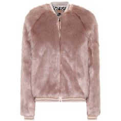 Mother The Letterman Faux Fur Jacket ($460) ❤ liked on Polyvore featuring outerwear, jackets, pink, pink jacket, fake fur jacket, brown faux fur jacket, brown jacket and faux fur jacket