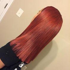 Copper Red Aurbun Straight Hair Blunt Cut