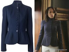 Scandal Fashion Recap: Olivia Pope's Alexander McQueen Military Style Peplum Jacket and Escada Grey Suit