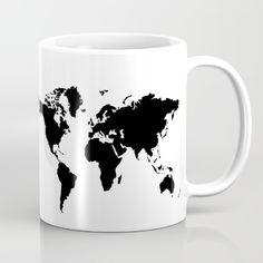 Black and White world map Mug
