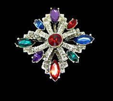 29e43bb0de11ea Large Jewel Colors Rhinestone and Marcasite Maltese Cross Brooch Pendant  Marquise Cut in Silver Tone