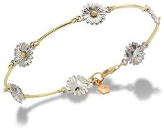 Clogau Gold 9ct Yellow and White Gold Daisy Bracelet of Length 19cm