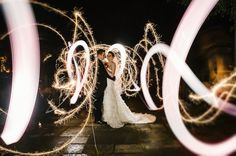 Light painting, creative wedding photography