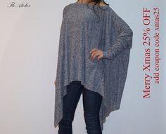 Loose Long  Blouse / Knit Oversized Top / by FloAtelier on Etsy