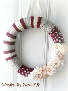 Fall Winter Yarn Wreath in Deep Red, Cream, Gray with lots of Cream Flowers and Bling. via Etsy.