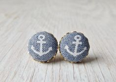 Anchor fabric button earrings nautical studs by NestBirdDesigns