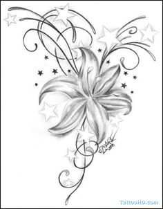 hibiscus tattoo design - Google Search, smaller minus stars with grandmas initial
