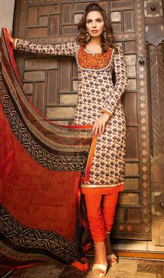 Beige and Orange Shade Cotton Churidar Suit Price: Usa Dollar $91, British UK Pound £54, Euro67, Canada CA$99 , Indian Rs4914.