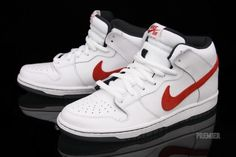 Nike SB Dunk Mid Pro - White / Red | KicksOnFire nice gotta get my shoe collection up!