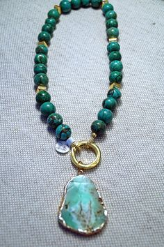 Chunky Turquoise Statement Necklace With Gold by JJuliusDesigns