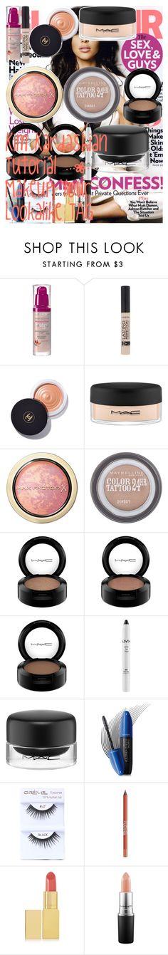 Kim Kardashian Tutorial | Makeup Your Lookalike TAG by oroartye-1 on Polyvore featuring beauty, Chanel, Le Métier de Beauté, MAC Cosmetics, AERIN, Bourjois, Max Factor, Revlon, BeYu and NYX
