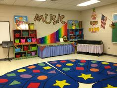 Music classroom- I like the solo-quartet plates, the keyboard skirt, the carpet and the boomwhacker display.