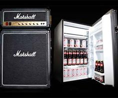 From the main stage to the man cave, the Marshall Fridge was born to rock. Featuring authentic Marshall Amp parts including logos, fret cloth, and a brass-finished faceplate, the ultimate combination of rock and refrigeration is finally here. Beer Fridge, Compact Refrigerator, Turning Tools, Take My Money, Inexpensive Gift, Guitar Amp, Your Music, Decoration, Cool Stuff