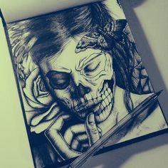 Skull Girl by Ricardo Ajcivinac, via Behance