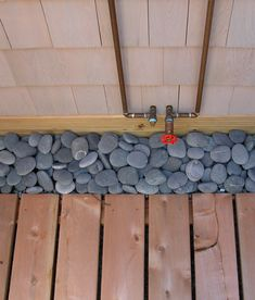 We highly recommend genuine Mexican Beach Pebbles under your outdoor shower floor. Not only do they look nice, but they are excellent for drainage. Outdoor Shower Kits, Outdoor Shower Enclosure, Outdoor Showers, Tulum, Shower Base, Shower Floor, Mexican Beach Pebbles, Bungalow, Outside Showers