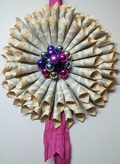 Rolled Book Page Wreath Tutorial by all things paper, via Flickr @Alice Cartee Evans
