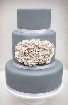 Silver Grey and Ivory Wedding Cake by Erica OBrien Cake Design