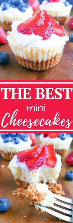 THE BEST Classic Mini Cheesecake Recipe loved by everyone- kids and adults. Vanilla cheesecake filling poured on top of a buttery graham cracker crust. Easy to make, perfectly portioned and so delicious. #cheesecake #dessert