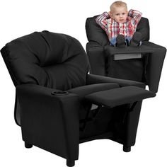 Watch product video - Flash Furniture Contemporary Black Leather Kids Recliner With Cup Holder BT-7950-KID-BK-LEA-GG