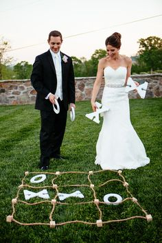 Tic-tac-toe! What a classic game to play at an outdoor wedding. {Nick & Erin Photography}