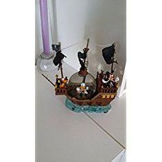 Disney Parks Snow Globe Black Pearl Pirate Ship Mickey, Donald & Pluto