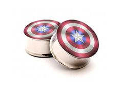 Captain of America Shield Plugs Ear gauges in by MonogramPendant, $19.95